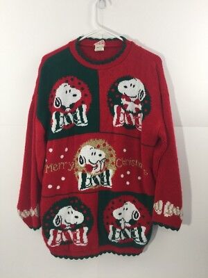 vintage snoopy friends red ugly christmas sweater usa holiday party m medium h