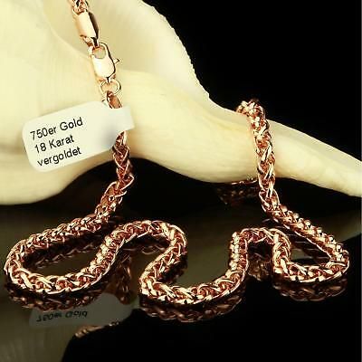 Braided Chain 4 mm Real 750 18 Kt Gold-Plated Rose Gold Unisex K2286-1