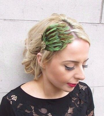 Gold Light Green Brown Pheasant Feather Fascinator Headband Races Cocktail 4283