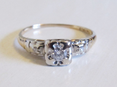 Antique Art Deco Diamond Engagement Ring 14k Yellow White Gold 2 Tone Illusion