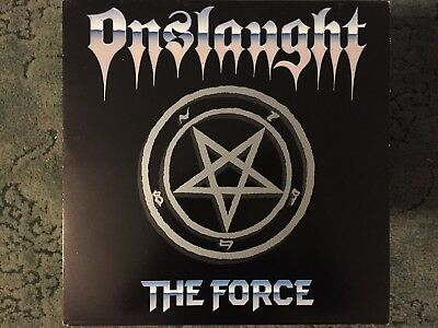 Onslaught The Force vinyl LP 1986 (FLAG 1) & Let There Be Rock 12'' 1987