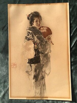 Early Japanese Geisha With Fan Lithograph Signed Obi Wood Block Print