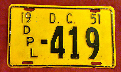 1951 District Of Columbia Diplomat Dpl-419 License Plate