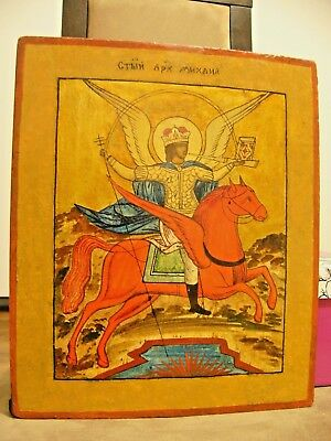 """Antique 19c Russian Orthodox Hand Painted Wood Icon """"the Archangel Michael"""""""