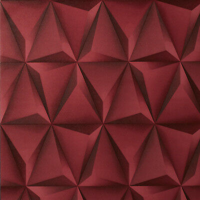 Exclusive 3d Effect Red Geometric Triangles Vinyl Wallpaper