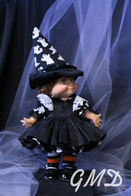 Galoob Baby Face doll Ghost dress with Black Pinafore and Matching Ghost Hat