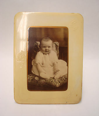 Antique Celluloid Photo Mounted on Tin Stand Up Cruvers Manufacturing Co Chicago