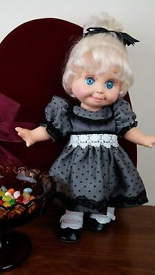 Galoob Baby Face doll Gray and Black Polka Dot Dress with White and Black Satin