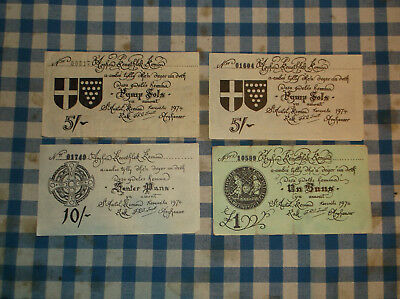 Scarce Cornish banknotes, issued in St. Austell, Cornwall in 1974 - no reserve