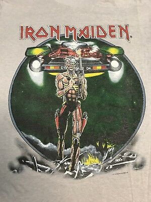 1986/7 IRON MAIDEN CONCERT TOUR T SHIRT XL ORIGINAL 50/50 poly/cotton
