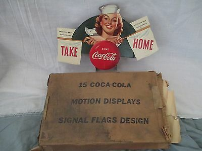Rare 1952 Coca Cola Die Cut Motion Korean Flag Lady War Sign W/ Motor Super Rare