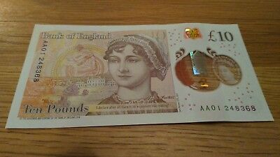 NEW £10 AA01 TEN POUND NOTE POLYMER Uncirculated low serial number
