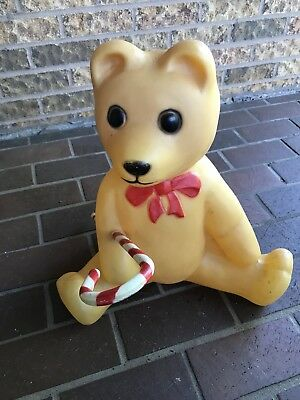 VINTAGE UNION TEDDY BEAR with  Candy cane LIGHTED BLOWMOLD...