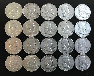 Lot of 20 Franklin Half Dollars. 90% Silver Content. $10.00 Face Value.