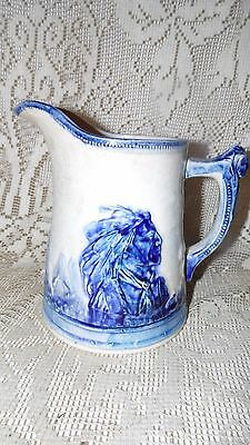 "Antique Sleepy Eye Indian 8"" Pitcher Pottery Weir Pottery As Is"