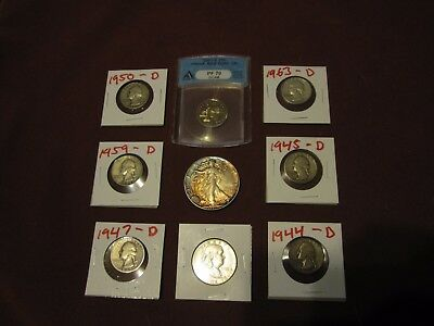 Silver And Graded US Coin lot #115--Silver Eagles-Quarters-Franklin. ANACS PF70