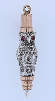 Figural Silver & Gold Owl Hicks Victorian Mechanical Propelling Pencil Fob Charm