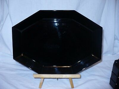 Rare Vintage Arcoroc France Black Octime Oval Sushi Turkey Platter Plate