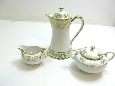 Vintage Nippon Hand Painted Chocolate Pot White / Gold Decorated + Extras