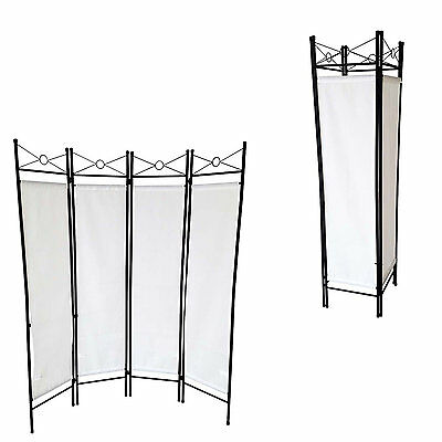 Room White Divider 4 Folding Partition Panel Dressing Screen Changing Paravent
