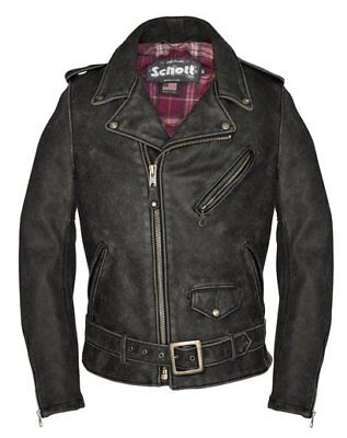 NWT Schott NYC 626VN Vintaged Fitted Cowhide Leather Motorcycle Jacket Black Mad