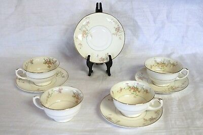 "Pope Gosser China GWENDOLYN 1167 U.S.A. Coffee Cups & 6"" Saucers (4 ea)"