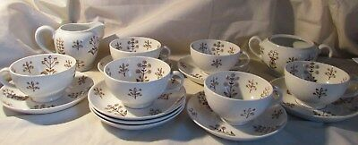 Vtg Arabia Brown Tapestry 16 Pc Lot, 6 Cups, 8 Saucers, Sugar, Creamer, Finland