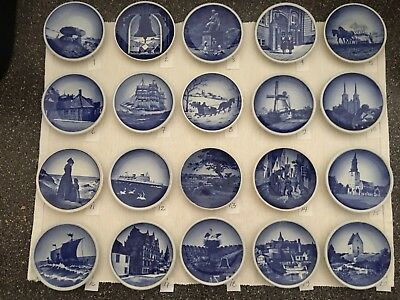 "Royal Copenhagen Collectible Delft Mini Wall Plates ~ Lot of 20 (approx 3"" each)"