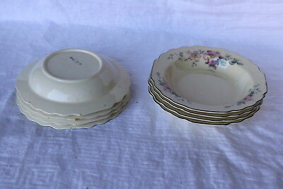 """W S George William Shaw Pottery Co BLOSSOMS 7 7/8"""" Soup Bowls (8)"""