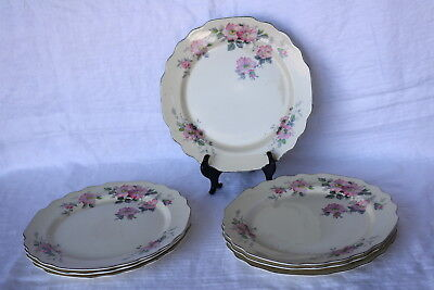 """W S George William Shaw Pottery Co BLOSSOMS 9 3/8"""" Luncheon Plates (7)"""