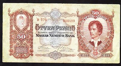 1932 50 Pengo Hungary  Vintage Paper Money Banknote Rare Antique Currency Old