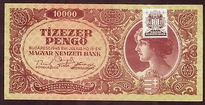1945 Hungary 10000 Pengo Stamp Vintage Paper Money Banknote Old Antique Currency