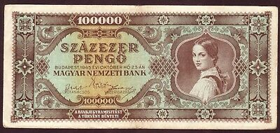 1945 Hungary 100000 Pengo Vintage Paper Money Banknote Rare Antique Old Currency