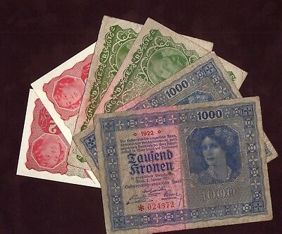 1922 Austria 2 100 1000 Kronen Lot 6 Vintage Paper Money Old Banknotes Currency
