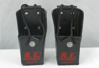 Racing Electronics Hard Leather Radio Case, Lot of 2, Attaches to belt