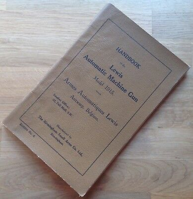 Original British Small Arms Factory Manual/handbook: Lewis Automatic Machine Gun