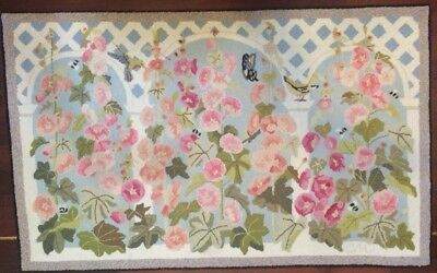 Claire Murray Rug Vintage HTF Retired 100% Wool Hand Hooked Garden Flowers!
