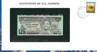 *Banknotes of All Nations Ethiopia 1976 1 Birr P30b UNC Kidan
