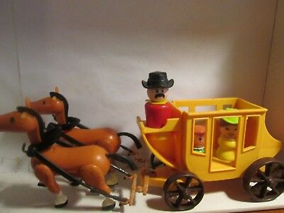 Fisher Price Little People Stage Coach-Team Horses With 3 Wood Figures Nice!