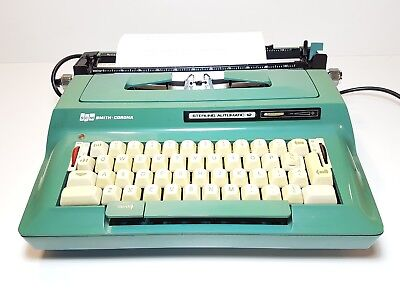 Vintage Smith Corona Sterling 12 green Typewriter