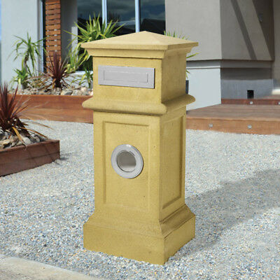 SALE - Milkcan SANDSTONE VILLA  Sand COLOUR PILLAR Large Durable Mailbox