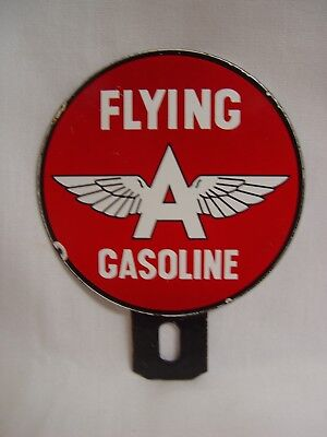 Flying A Gasoline Porcelain Advertising Gas Oil License Plate Topper