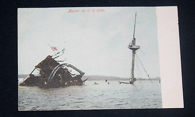 C. 1906 Undivided Back Postcard Wreck Of Uss Maine As It Is Now Havana Cuba