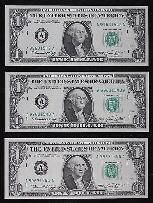 Three $1 1974 CU with bp 905 Engraving Error Federal Reserve Note A99631542A-44A