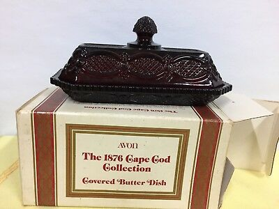 NEW IN BOX AVON's 1876 CAPE COD RUBY RED GLASS COVERED BUTTER DISH