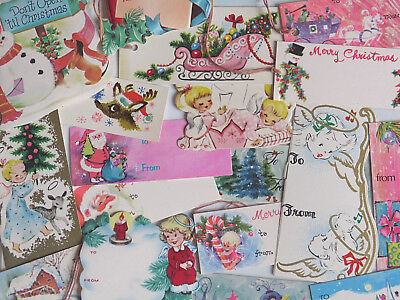Vintage Christmas Gift Tag Lot Cottage Chic Pinks Angels Deer Pastels Not Shabby