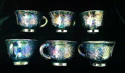 6 Indiana Carnival Glass Princess Blue Grape Leaves Punch Cups