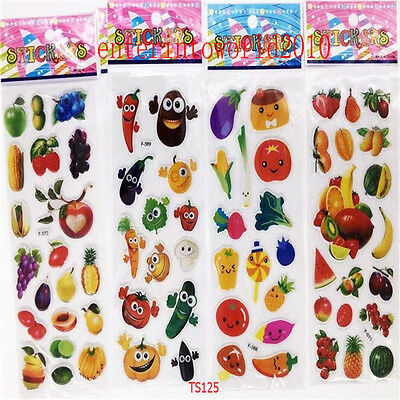 4Pcs PVC vegetable&fruit kids craft sticker Teacher reward stickers lot-Kid gift