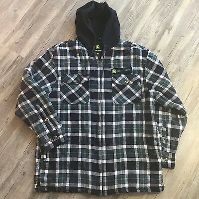 John Deere Quilted Lined Blue Plaid Light Weight Hooded Flannel Jacket Coat XL