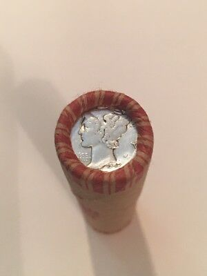 Unsearched Shot Gun Roll Of Wheat Pennies / Mercury Dime And Indian Head #3599